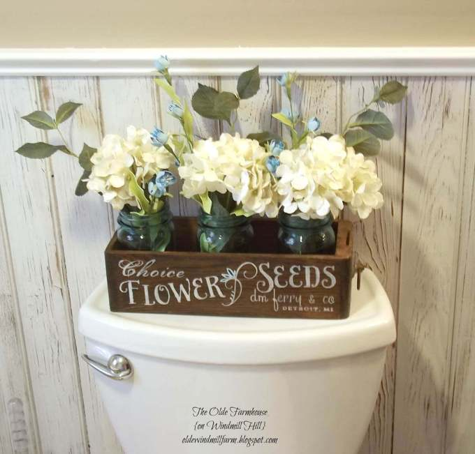 Farmhouse Bathroom Decor Ideas - Flower Crate with Mason Jar Vases Decoration - harpmagazine.com