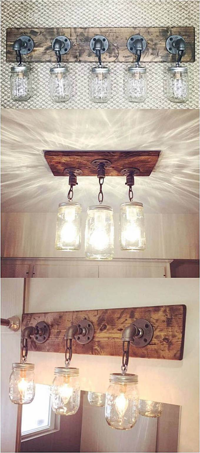 Farmhouse Bathroom Decor Ideas - DIY Mason Jar Light Fixtures - harpmagazine.com