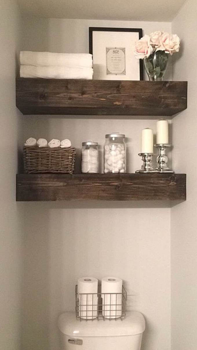 Farmhouse Bathroom Decor Ideas - Rustic Wood Beam Bathroom Shelves - harpmagazine.com