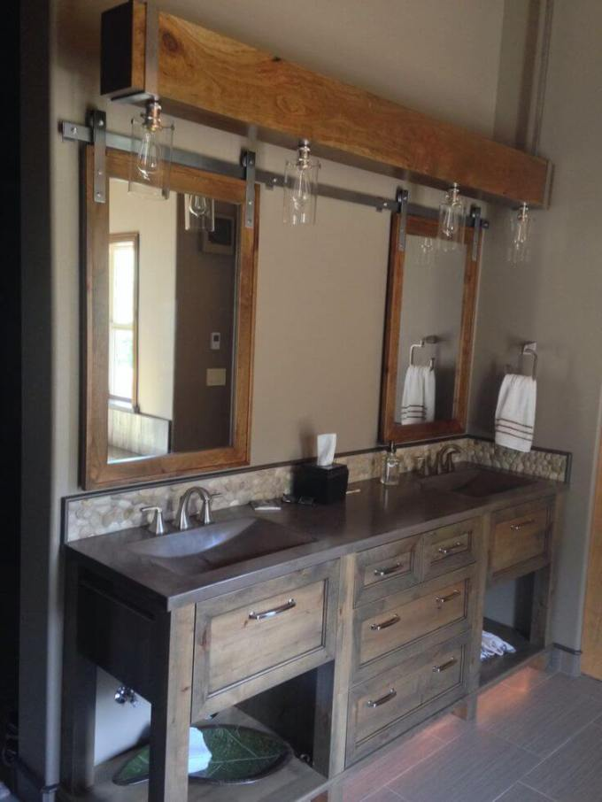 Farmhouse Bathroom Decor Ideas - Barn Door Bathroom Cabinet - harpmagazine.com