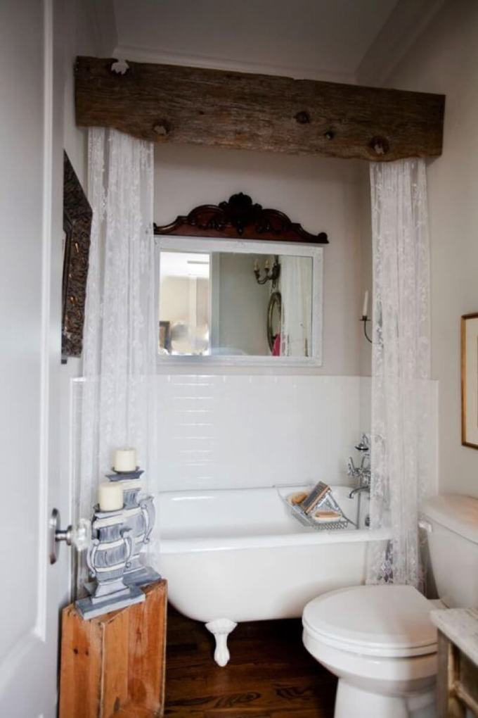 Farmhouse Bathroom Decor Ideas - Barn Board and Lace Bathtub Privacy Curtains - harpmagazine.com