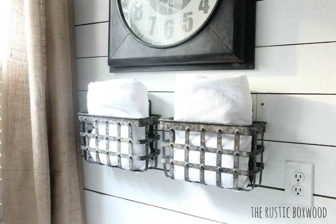 Farmhouse Bathroom Decor Ideas - Wall Mounted Metal Baskets for Storage - harpmagazine.com