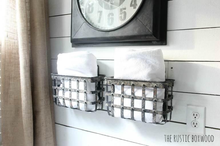 Farmhouse Bathroom Decor Ideas - Wall Mounted Metal Baskets for Storage - harpmagazine.com
