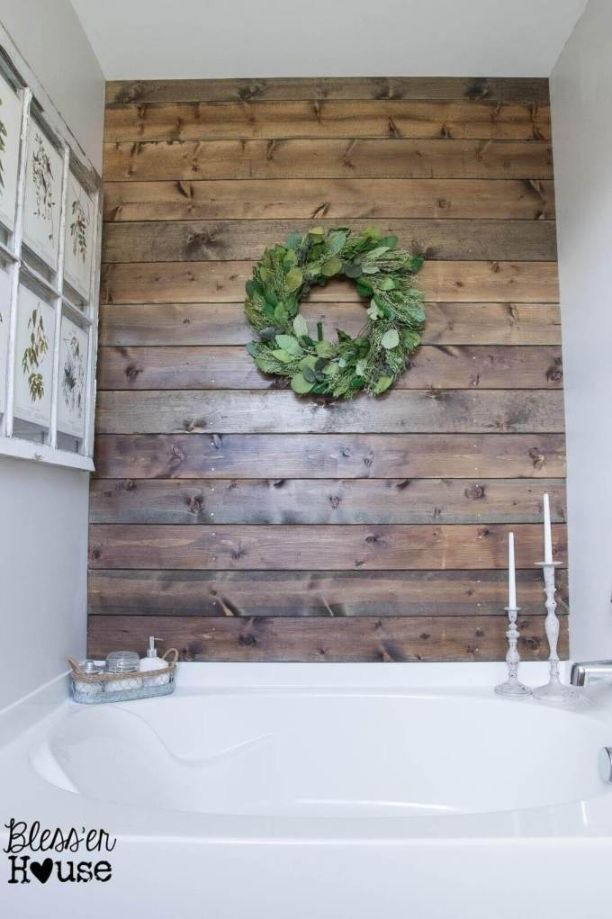 Farmhouse Bathroom Decor Ideas Rustic - Wood Bathroom Accent Wall - harmagazine.com