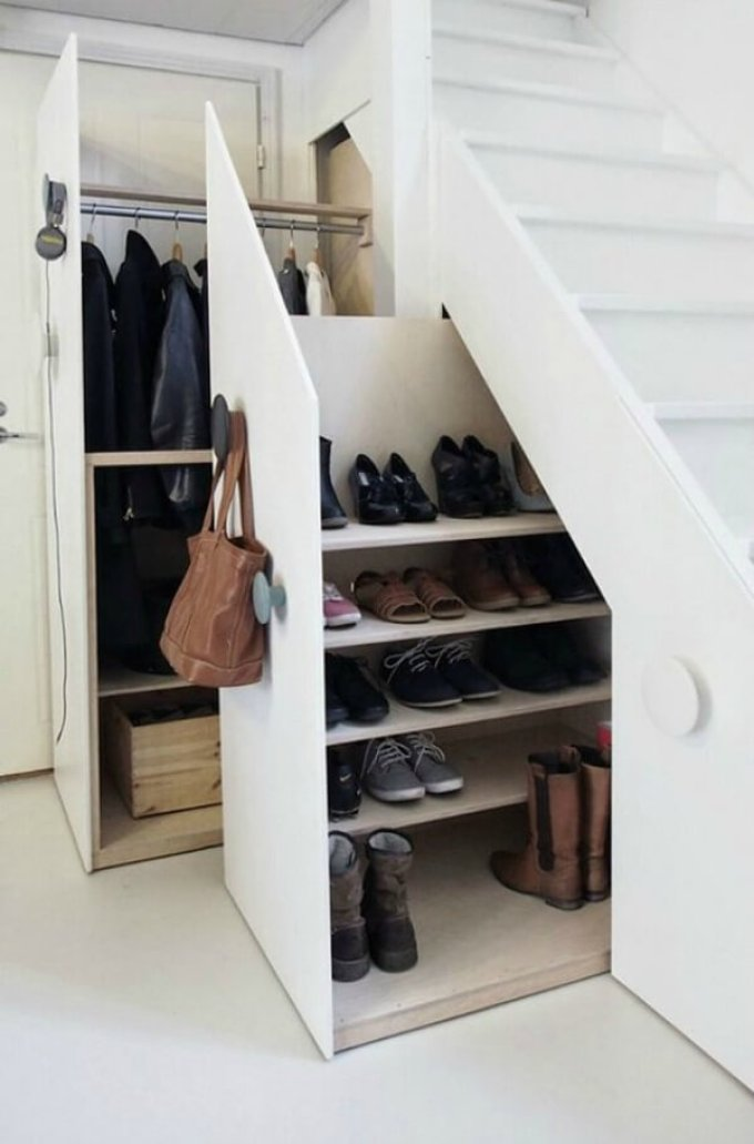 Storage Ideas for Small Spaces - Shoe Storage Under the Stairs - Harpmagazine.com