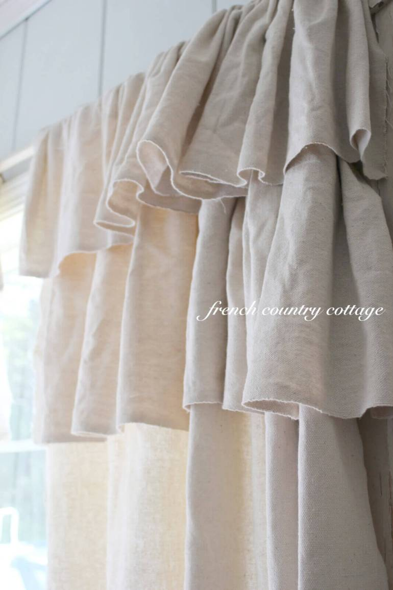 French Country Decor Ideas - Ruffled Natural Linen Window Curtains - Harpmagazine.com