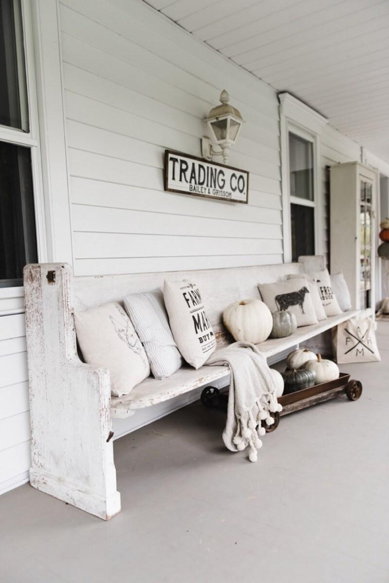 Farmhouse Porch Decorating Ideas - Railway Station Style Runner Bench - Harpmagazine.com