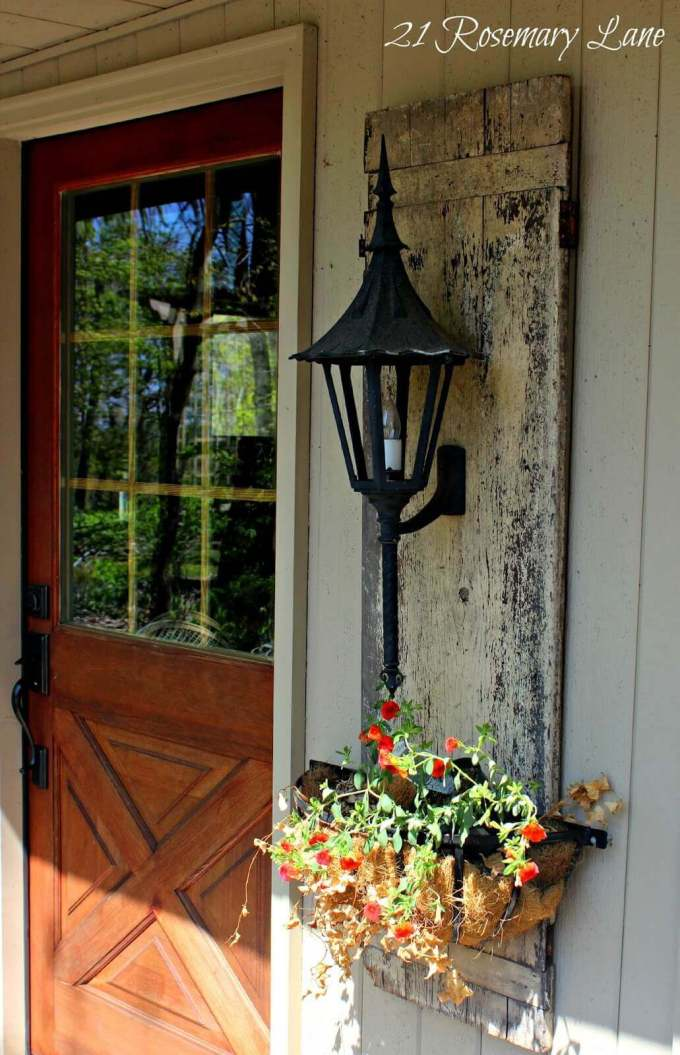 Farmhouse Porch Decorating Ideas - Shuttered Planter's Lantern Wall Mount- Harpmagazine.com
