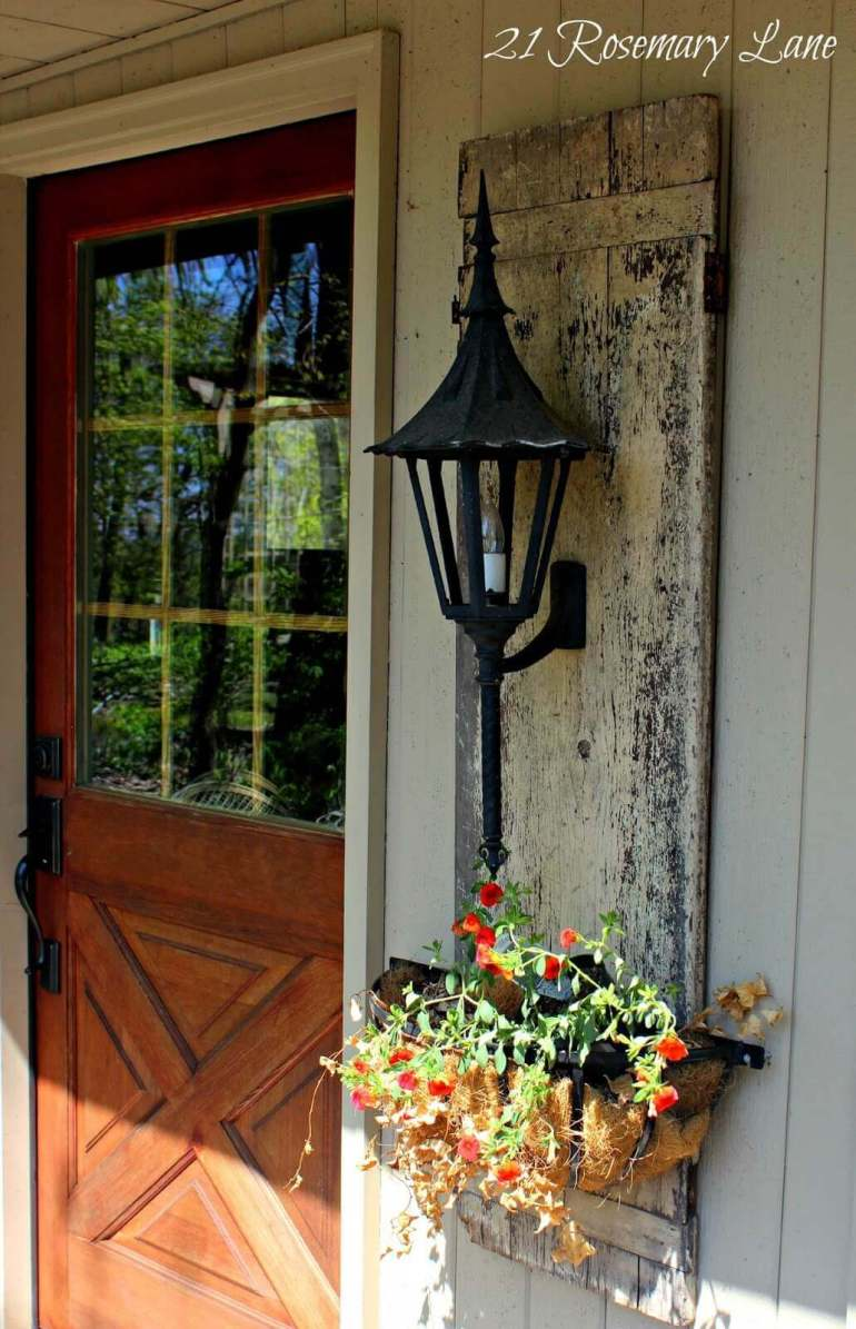 Farmhouse Porch Decorating Ideas - Shuttered Planter's Lantern Wall Mount- Harpmagazine.com
