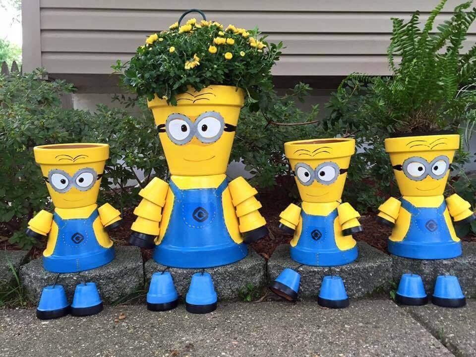 14. DIY Minion Flower Pot Decorations
