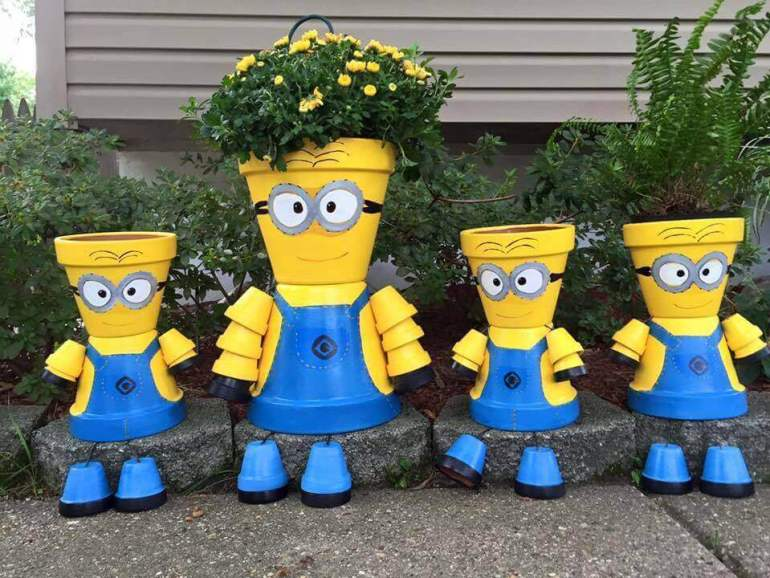Front Door Flower Pots Ideas - DIY Minion Flower Pot Decorations - harpmagazine.com