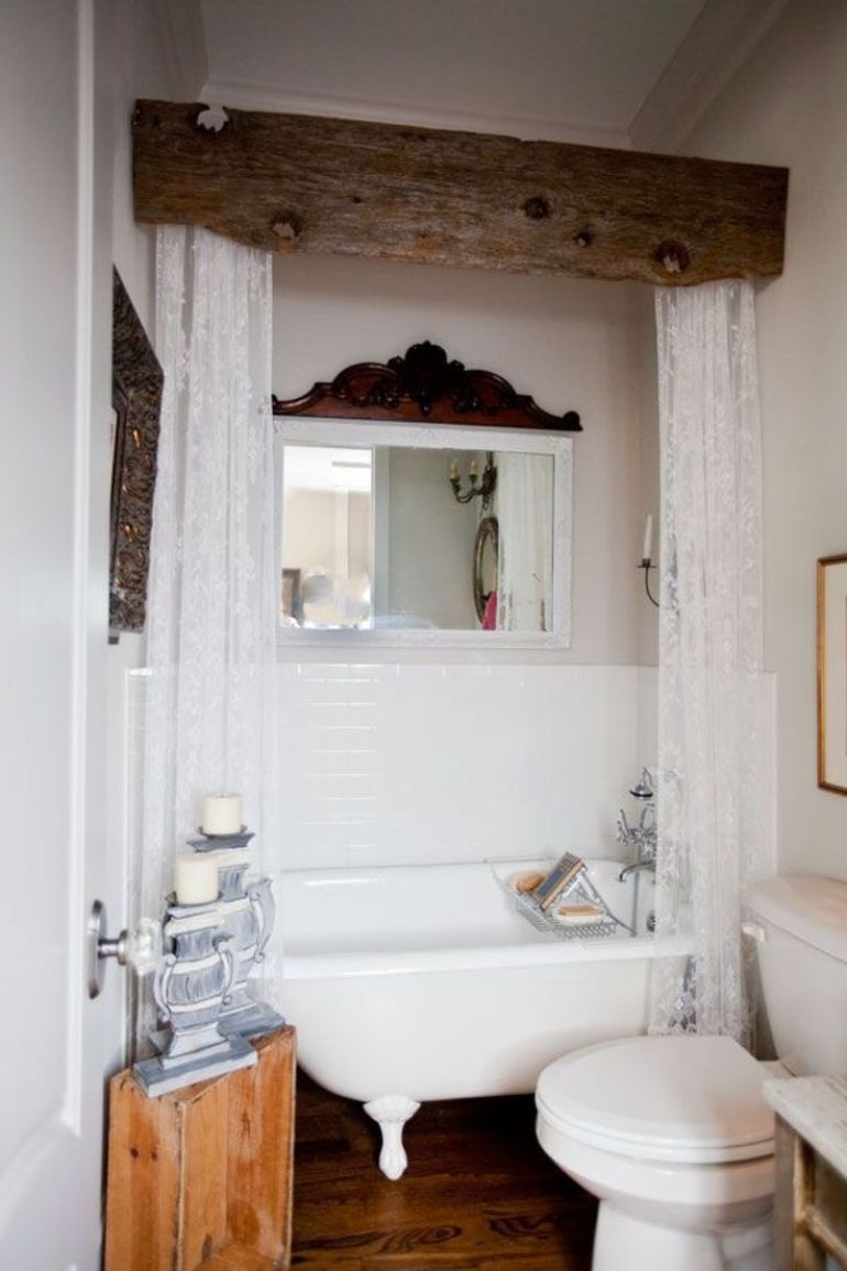 Rustic Bathroom Decor Ideas - Rough Beam Cornice Box for Shower Curtains - harpmagazine.com