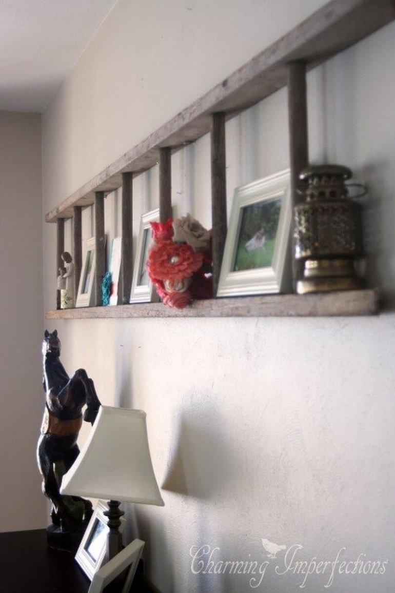 Rustic Wall Decor Ideas - Orchard Ladder Display Shelf - harpmagazine.com