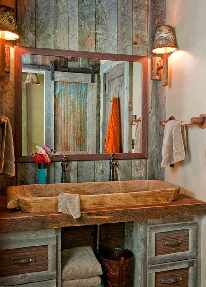 Rustic Bathroom Decor Ideas - Stone Double Sink and Barn Wood Paneling - harpmagazine.com