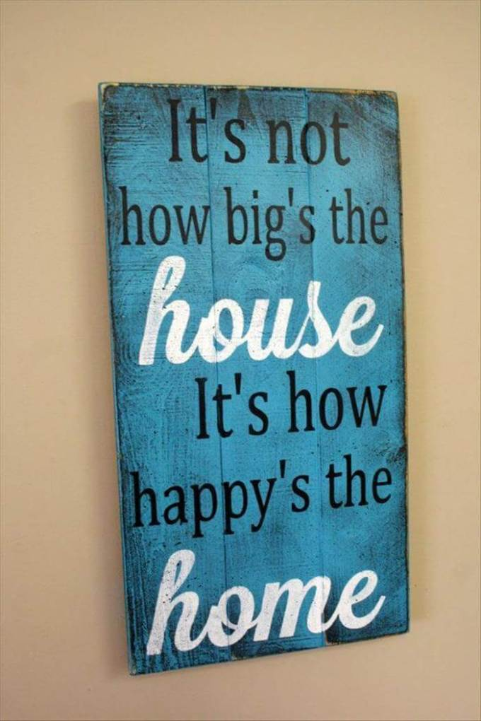 """Wood Signs Ideas - Color Washed """"Happy Home"""" Panel - harpmagazine.com"""