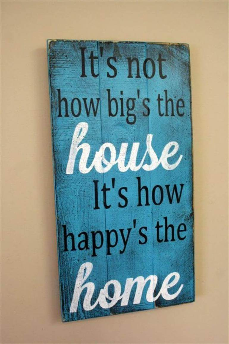 "Wood Signs Ideas - Color Washed ""Happy Home"" Panel - harpmagazine.com"