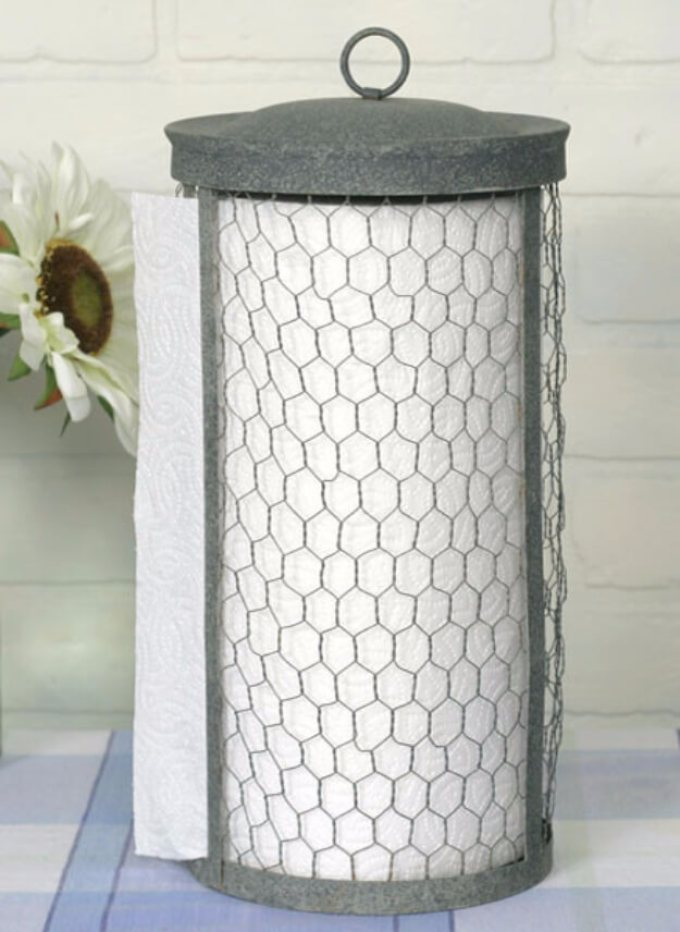 Farmhouse Kitchen Decor Design Ideas - Rustic Paper Towel Roll Coop - harpmagazine.com