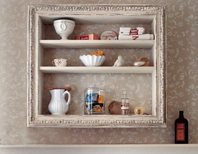 Rustic Bathroom Decor Ideas - Vintage Wooden Framed Storage Shelves - harpmagazine.com