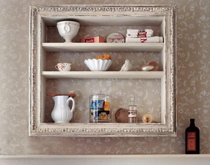 Rustic Bathroom Decor Ideas - Vintage Wooden Framed Storage Shelves - harpmagazine.com