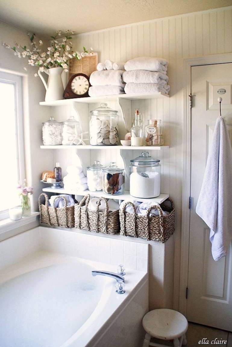 Bathroom Storage Ideas - Bottles and Baskets - harpmagazine.com