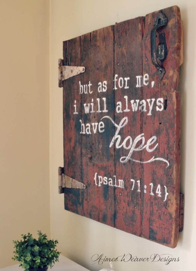 Wood Signs Ideas - Reclaimed Door with Bible Verse - harpmagazine.com
