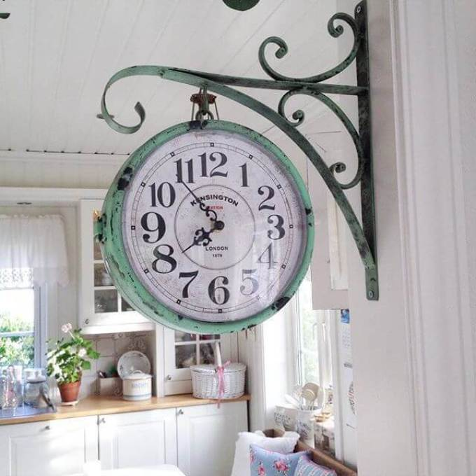 Farmhouse Kitchen Decor Design Ideas - Vintage Hanging Pharmacy Clock in Weathered Copper - harpmagazine.com