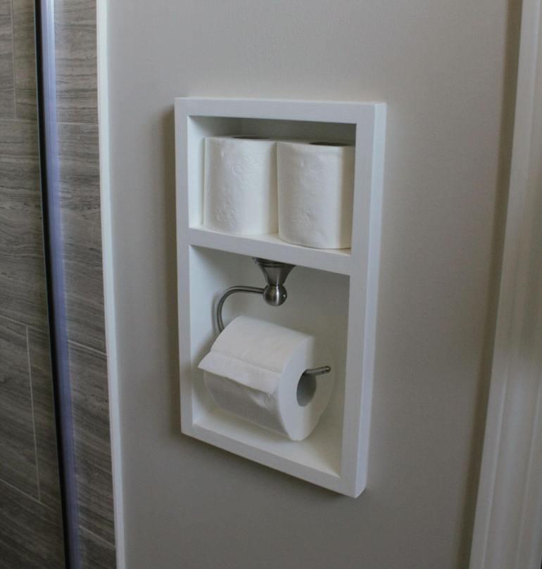 Bathroom Storage Ideas - A Shadow Box for Toilet Paper - harpmagazine.com