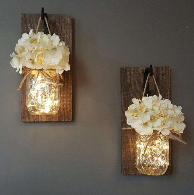 Rustic Wall Decor Ideas - Glowing Mason Jar Wall Sconces - harpmagazine.com
