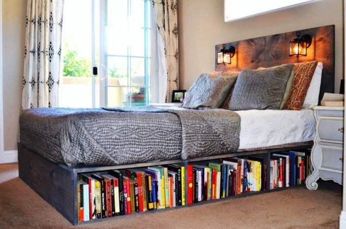 Storage Ideas for Small Spaces - Install a Bookshelf Beneath the Bed - Harpmagazine.com