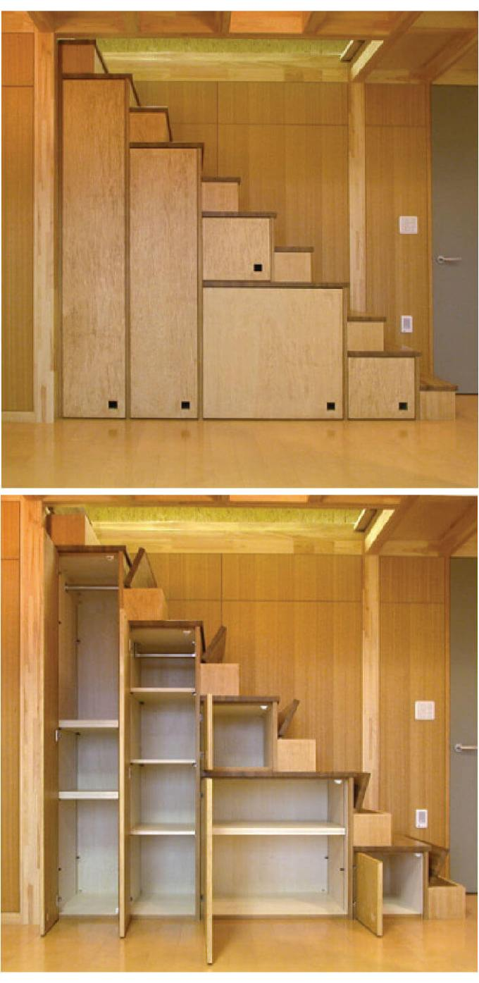 Storage Ideas for Small Spaces - Cabinets Beneath the Stairs Maximize Unused Space - Harpmagazine.com