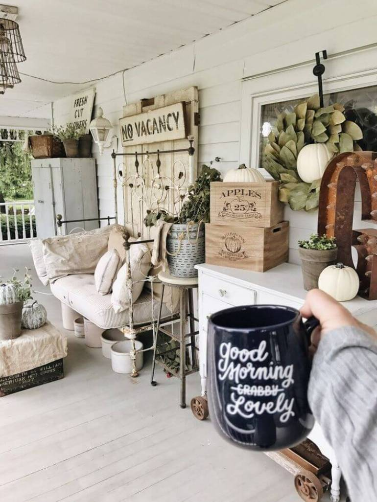 Farmhouse Porch Decorating Ideas - Shabby Chic B & B Porch Decor - Harpmagazine.com