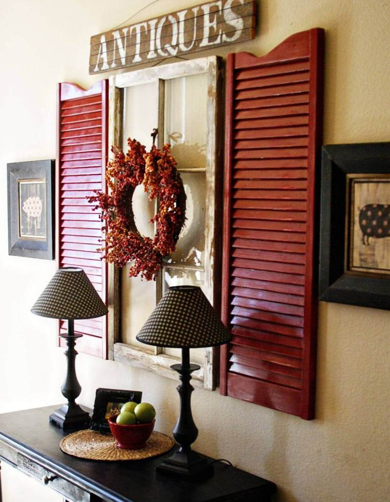 Rustic Wall Decor Ideas - Vibrant Black and Red Window Shutter Display - harpmagazine.com