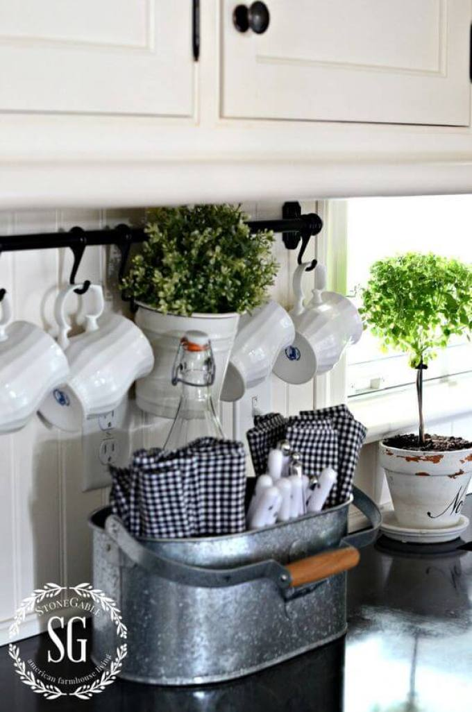 Farmhouse Kitchen Decor Design Ideas - Galvanized Metal Cutlery and Linens Caddy - harpmagazine.com