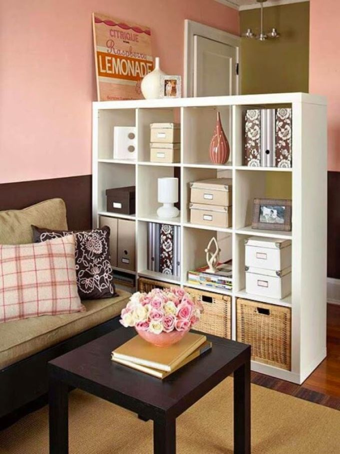 Storage Ideas for Small Spaces - Shelves Multitask as Storage and Room Divider - Harpmagazine.com