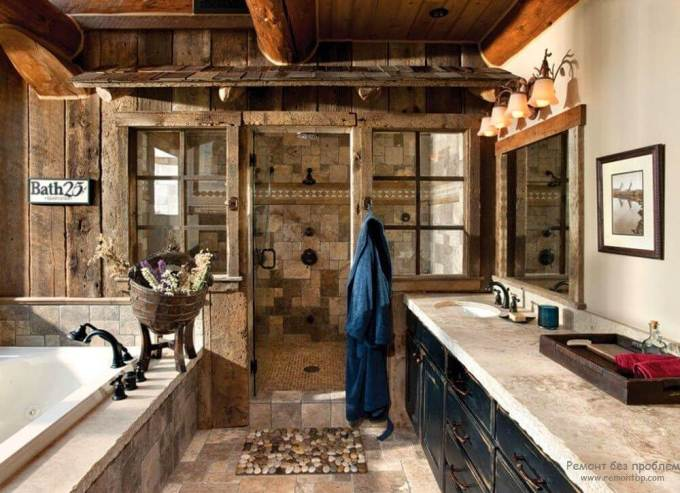 Rustic Bathroom Decor Ideas - Mixed Stone Cabin Bathroom with Walk-in Shower - harpmagazine.com