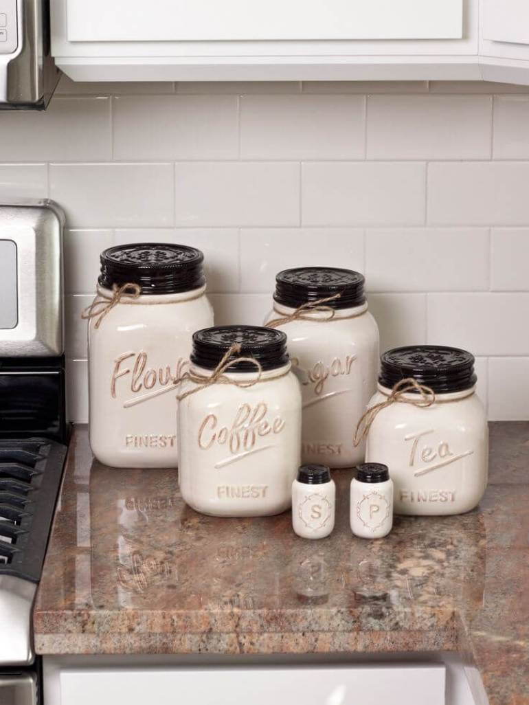 Farmhouse Kitchen Decor Design Ideas - Ceramic Mason Jar Storage Set - harpmagazine.com