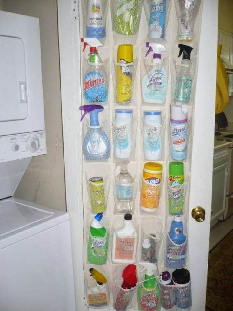 Storage Ideas for Small Spaces - Fill a Shoe Organizer with Cleaning Supplies - Harpmagazine.com