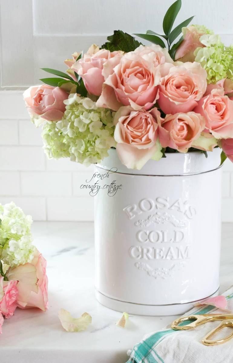 French Country Decor Ideas - White Ceramic Crock Flower Vase - Harpmagazine.com