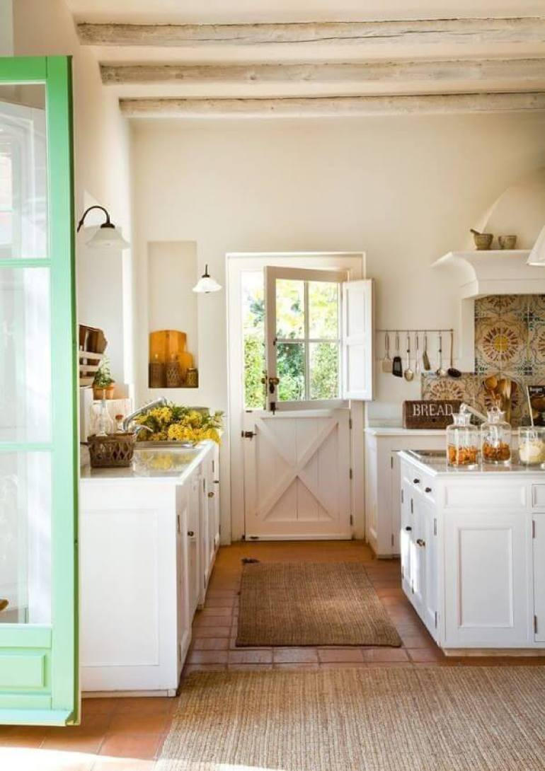 Farmhouse Kitchen Decor Design Ideas - Dutch Door Leading to Kitchen Garden - harpmagazine.com
