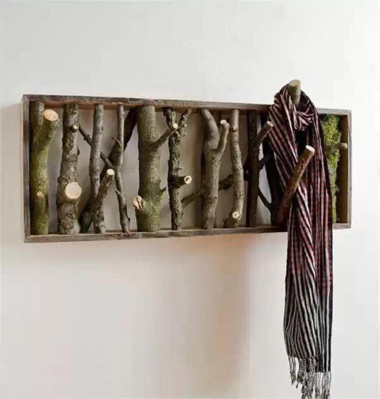 Rustic Wall Decor Ideas - Tree Branch Wall Art and Coat Rack - harpmagazine.com