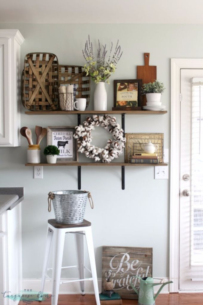 Farmhouse Kitchen Decor Design Ideas - Plantation's Bounty Display Shelves - harpmagazine.com
