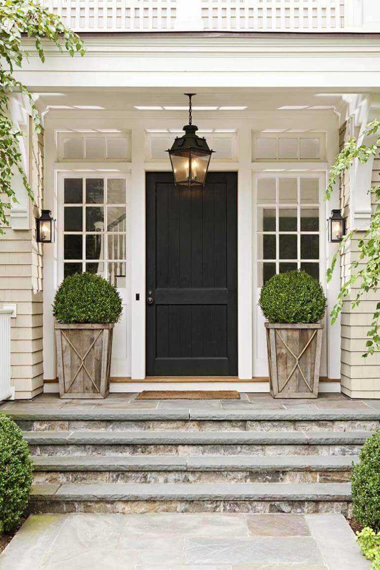 Front Door Flower Pots Ideas - Rustic Wood Shrub Porch Planters - harpmagazine.com