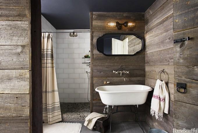 Rustic Bathroom Decor Ideas - Upscale Boathouse Bath with Shiplap Paneling - harpmagazine.com