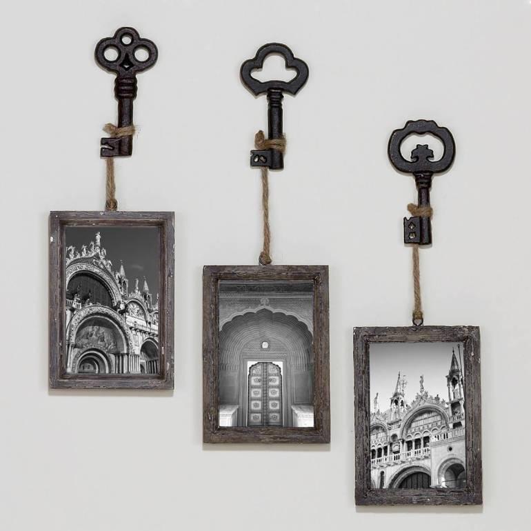 Rustic Wall Decor Ideas - Monochromatic Skeleton Key Photo Hooks - harpmagazine.com