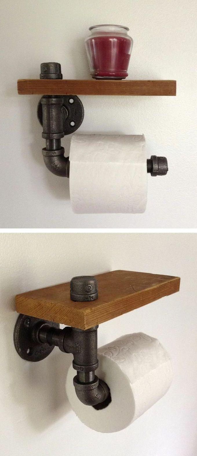 Rustic Bathroom Decor Ideas - Pipe-fitting Toilet Paper Holder with Shelf - harpmagazine.com