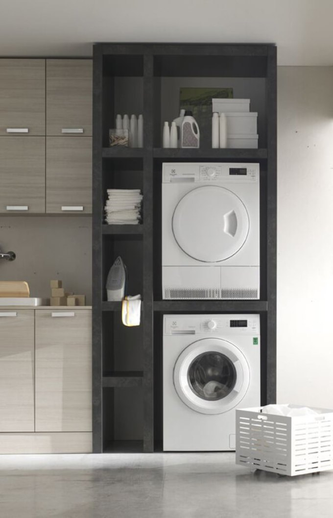 Storage Ideas for Small Spaces - Gorgeous and Modern Built-In Laundry Storage - Harpmagazine.com
