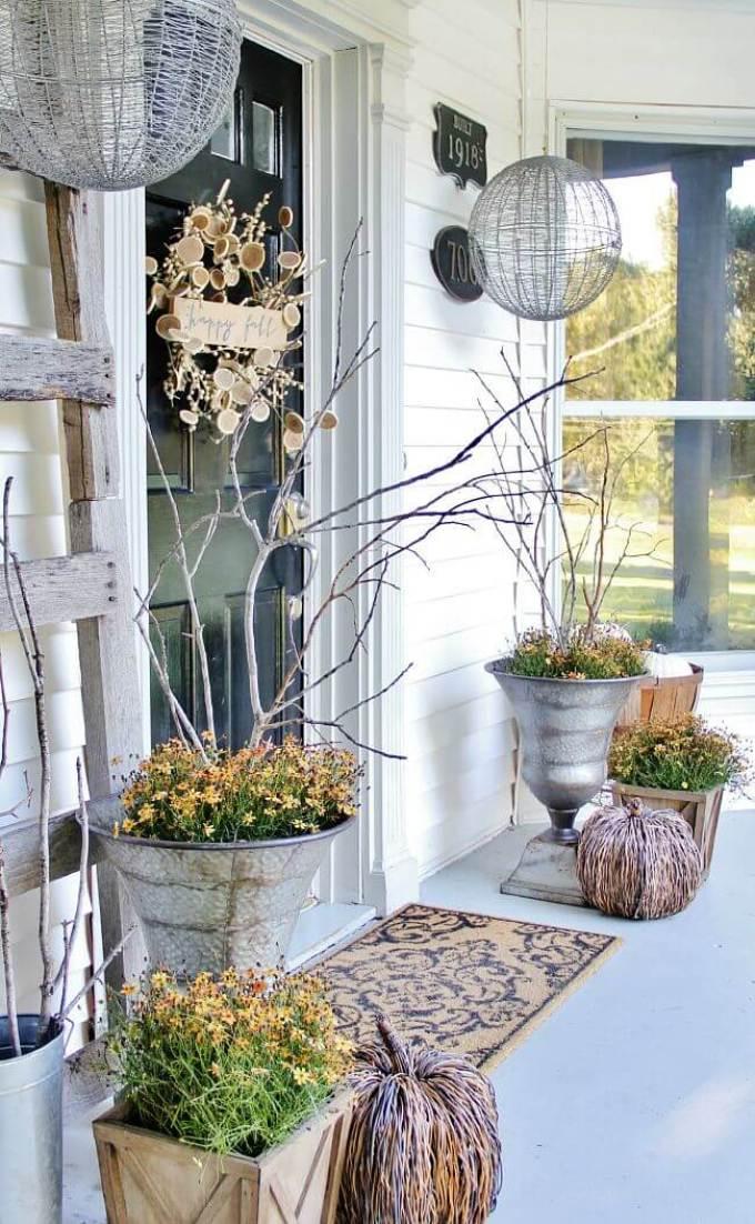 Farmhouse Porch Decorating Ideas - Gossamer Fall Silver Porch Urns & Display Domes - Harpmagazine.com