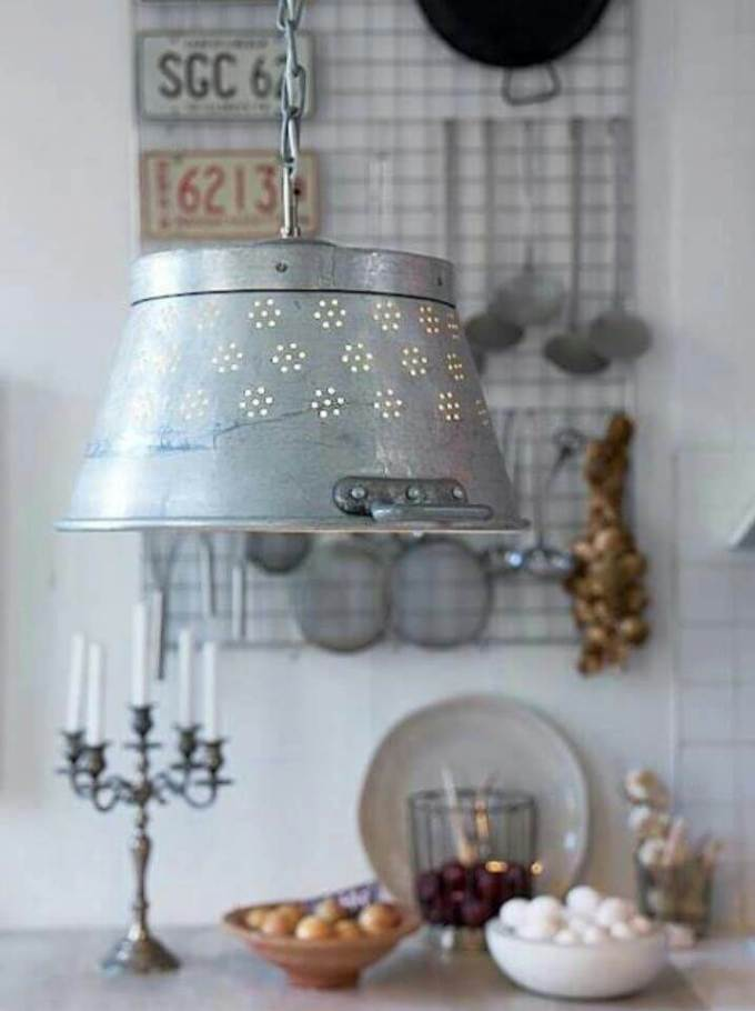 Farmhouse Kitchen Decor Design Ideas - Perforated Milk Pail Pendant Lamp - harpmagazine.com
