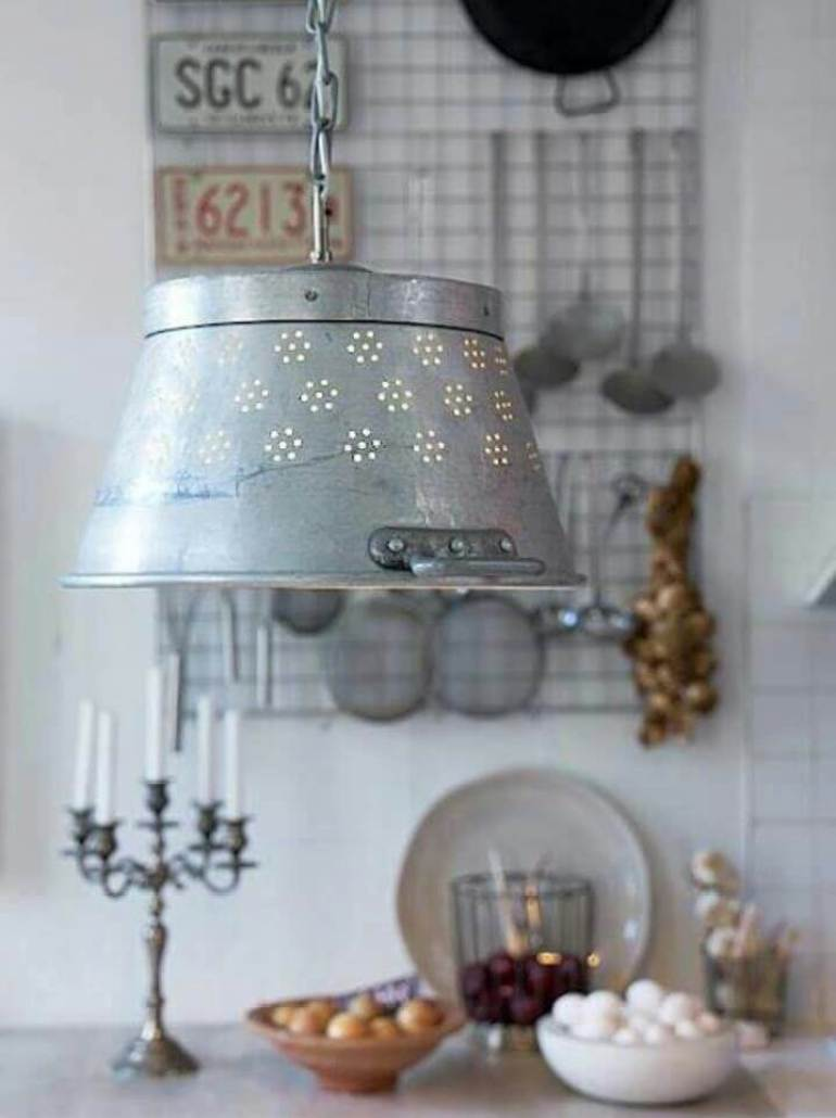 Farmhouse Kitchen Decor Design Ideas - Perforated Milk Pail Pendant Lamp - harpmagazine.com