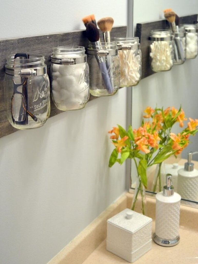 Storage Ideas for Small Spaces - Gorgeous and Practical Mason Jar Storage - Harpmagazine.com